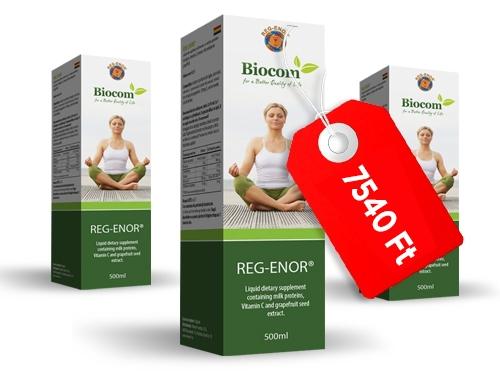 A Reg-Enor étrend-kiegészítő oldat javasolt fogyasztói ára: 7540 Ft.